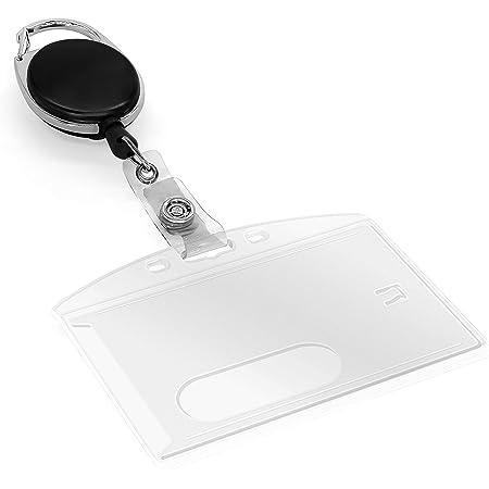 MyGadget 2 X Porte Badges d'Identification avec Fil Rétractable - Etui de Protection pour Cartes avec Yoyo Coulissant et Mousqueton - Plastique Dur