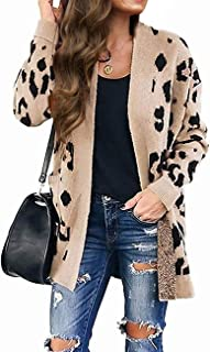 Women's Long Sleeves Open Front Leopard Print Knitted...