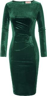 Belle Poque Women's V-Neck Long Sleeve Soft Velvet Pleated Crossover Bodycon Pencil Dress