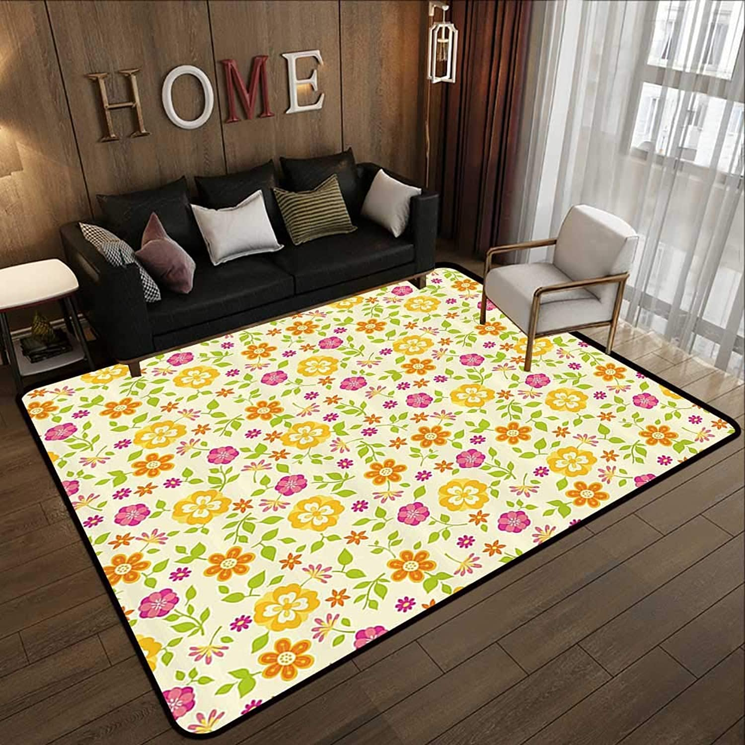 Modern Area Rug with Non-Skid,Floral,colorful Spring Themed Flower Petals Summer Florets Funky Girls Design,Pink Marigold Lime Green 47 x 59  Indoor Super Absorbs Doormat