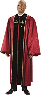 Burgundy Jacquard Pulpit Robe with Embroidered Gold Crosses (59 XL 6' - 6'2