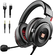 EKSA E900 USB Gaming Headset-Xbox One Headset with 7.1 Surround Sound, PS4 Headset Noise Cancelling Headset with Mic&LED L...