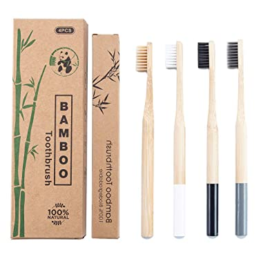 Bamboo Toothbrush Soft Biodegradable Eco-Friendly Natural Recyclable Travel Bamboo Toothbrush Set with Nylon and Charcoal Bristles Pack of 4