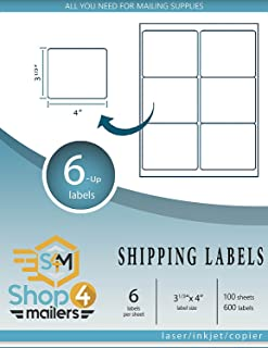 "Shop4Mailers 6-Up White Shipping Labels 3 1/3"" x 4"" ~ 1000 Sheets, 6000 Labels"