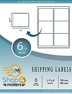 Shop4Mailers 6 张装白色发货标签 8.26cm x 10.16cm 1000 Sheets 白色