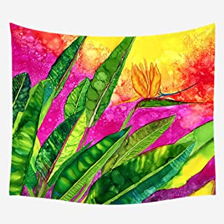 hdmfl Autumn Leaves Printed Tapestry Wall Hanging Living Room Bedroom Wall Hanging Decorative Painting Beach Towel Tablecloth Red Carpet Green Plant Tapestry_130X150Cm