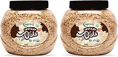 Nutriorg Organic Instant Oats 1 kg (Pack of 2 * 500g) | USDA Certified | Made from 100% Organic Produce | Weight...
