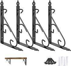 Ouvin Decoratieve wandplank beugels 4 Pack 12 inch Heavy Duty L Hoek Brace Plank Ondersteuning Drijvende Metalen Beugels m...