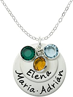Loving Names Personalized Sterling Silver Charm Necklace. Customize with up to 3 Names and 3 Swarovski Birthstones. Choice of 925 Chain. Gifts for Her, Wife, Mom, Grandmother