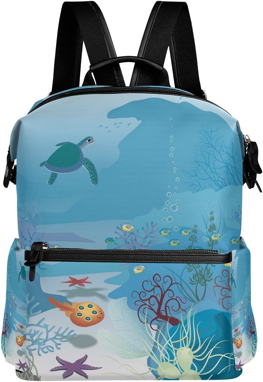 LORVIES Seascape Turtle School Rucksack Travel Backpack