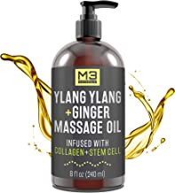M3 Naturals Ylang Ylang and Ginger Massage Oil Infused with Collagen and Stem Cell - Therapeutic Anti-Cellulite Body Lotio...