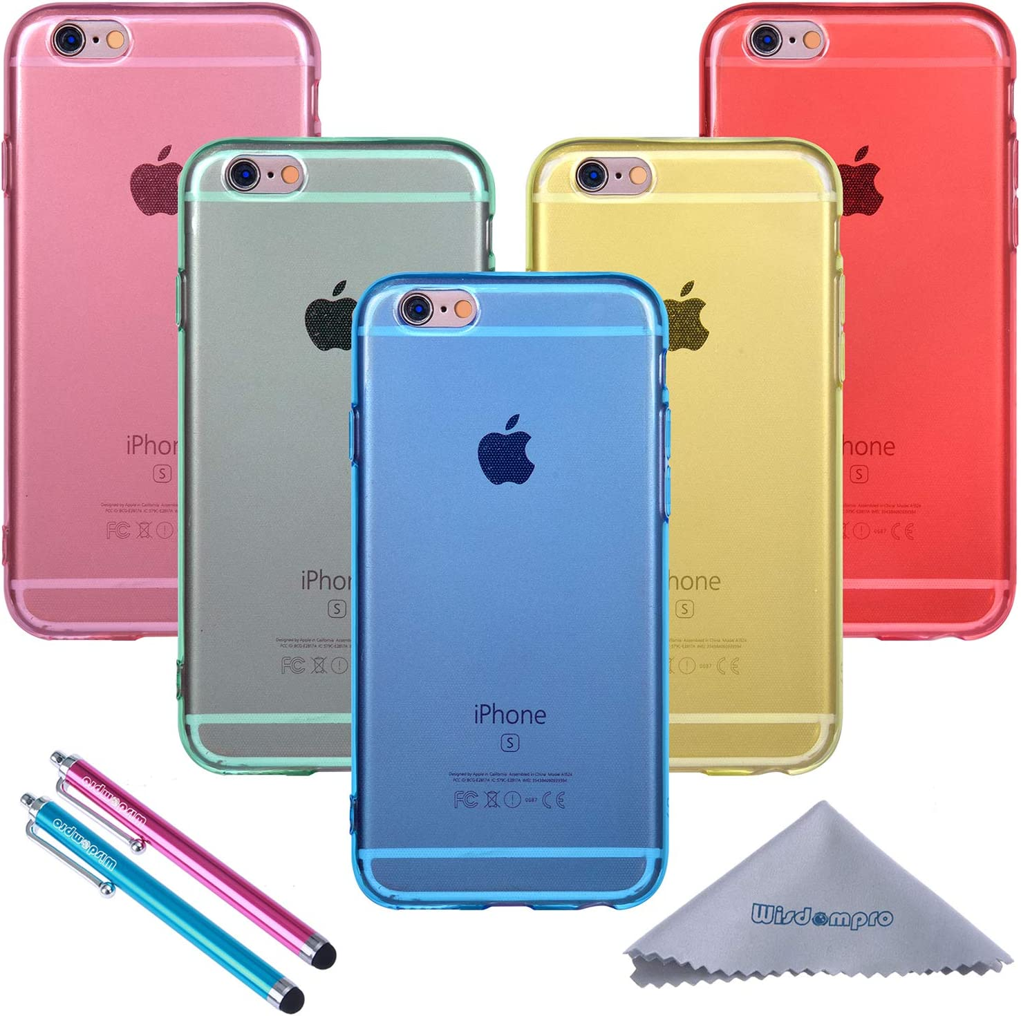 Wisdompro iPhone 6 Case, iPhone 6s Case, Bundle of 5 Pack Extra Thin Slim Jelly Soft TPU Gel Protective Case Cover for Apple 4.7 Inch iPhone 6 6s (Blue, Aqua Blue, Hot Pink, Yellow, Red)-Clear