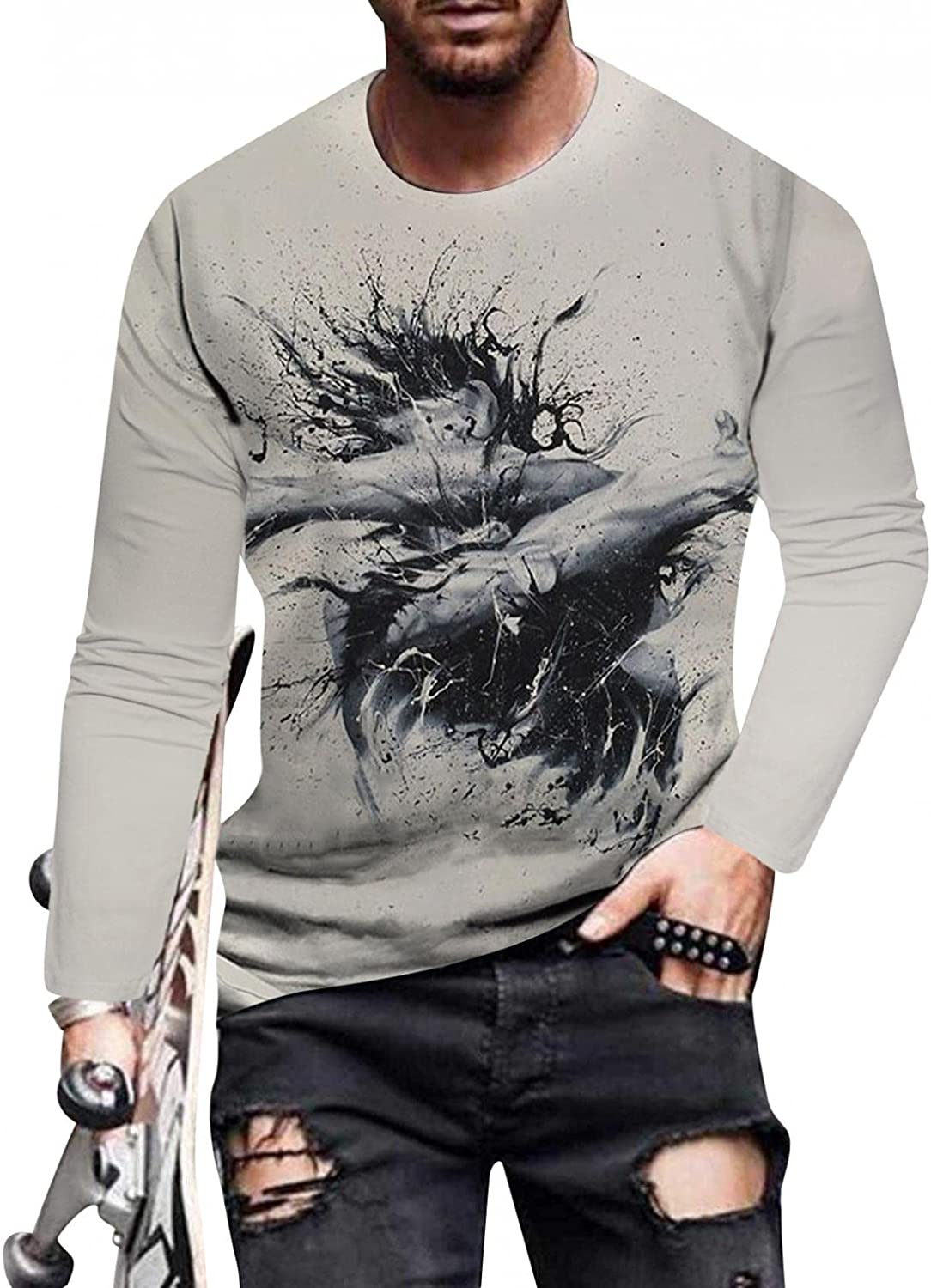 Mens T Shirts Long Sleeve Round Neck Pullover Sweatershirts Casual Street 3D Digital Print Blouse Slim Fit Muscle Tops