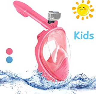 Haomaomao Snorkel Mask Full Face for Kids, Dry Top Set Anti-Fog Anti-Leak Diving Mask.180° Panoramic View Easy Breathing and NO Foggy Anti-Leak Diving Mask.Free Breathing Design