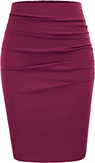 GRACE KARIN Womens Elegant Ruched Knee Length Pencil Skirts Slim Fit Business Skirt