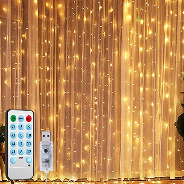 2019 New Window Curtain String Lights 300 LED USB Powered String Lights 4 Music Control Modes 8 Lighting Modes Waterproof Decorative Lights For Wedding Homes Party Bedroom 9 8x9 8 Ft