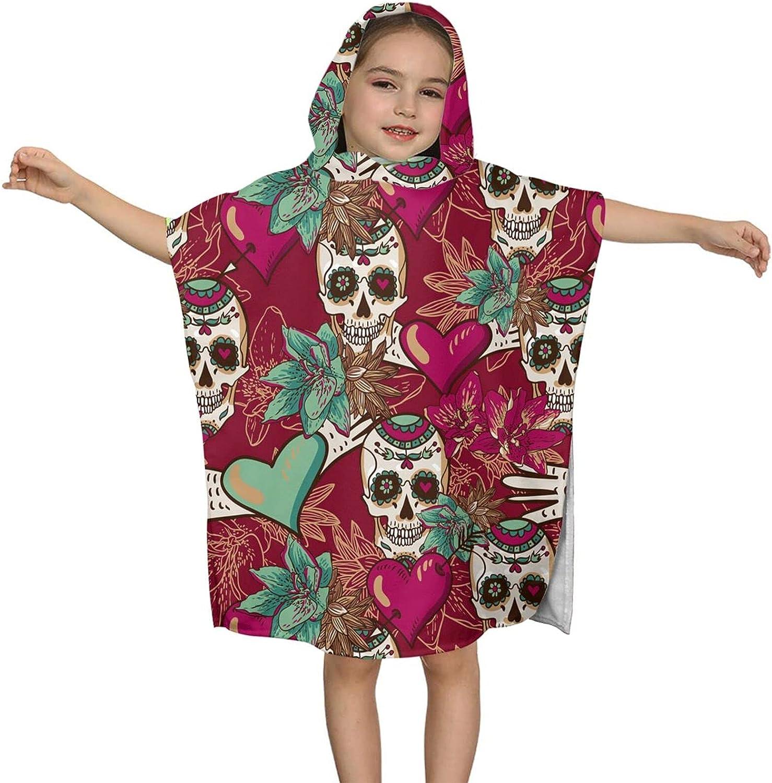 Hooded Bath Towel Max 60% OFF Sugar Skulls Wra Flowers San Antonio Mall and Kids