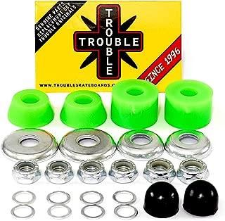 Trouble Bushings for Skateboard Trucks • Soft 90A • Cushion Rebuild Bushing Kit • Green/Silver (BS2)