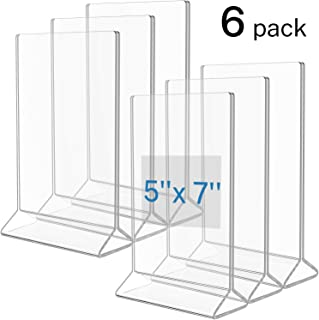 MaxGear Menu Holder 5x7 inches Acrylic Frame Plastic Sign Holder Tabletop Menu Holders Clear Picture Frames Double Sided Paper Display Stand for Restaurant, Counter, Exhibition, Home-Vertical, 6 Pack