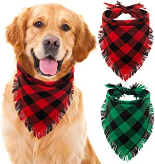 KOOLTAIL Paild Dog Bandana Christmas 2 Pack - Classic Trangle Scarf Tassels Style Holiday for Dogs Cats Puppy