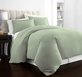 Beckham Hotel Collection Luxury Soft Brushed 2100 Series Microfiber Duvet Cover Set - Hypoallergenic - Full/Queen - Olive