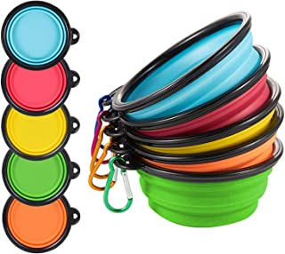 STrighter Dog Bowl, Collapsible 5 Pack Dog Bowls for Travel, Fodable Silicone Bowls for Dogs Cats, Small Portable Pet Feed...