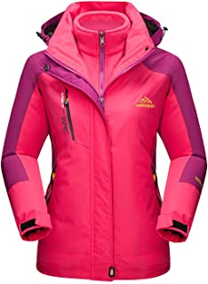 Women's Snow Jacket 3-IN-1 Water Resistant Snowboard Ski Jacket Warm Fleece Winter Coat Parka