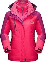 MAGCOMSEN Women's Outdoor 3-in-1 Water Resistant Skiing Snowboarding Jacket Fleece Warm Raincoat
