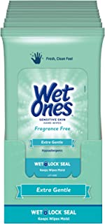 Wet Ones Sensitive Skin Hand Wipes, 20 Count (Pack Of 10)