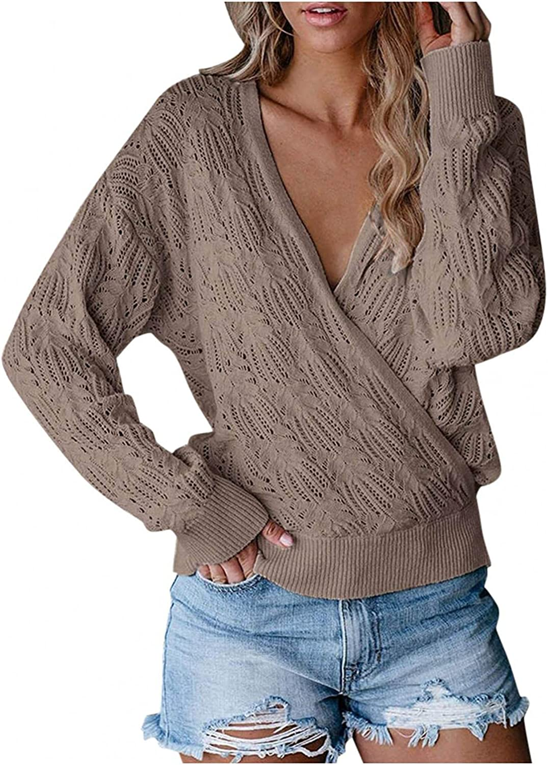 UUJUNE Women's Sweaters Long Sleeves Deep V Neck Casual Loose Fit Hollow Solid Pullovers Knit Crop Sweater Cozy Tunic Tops