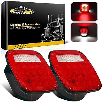 trailer backup light wiring amazon com partsam 2x universal 16 led stop tail turn signal  partsam 2x universal 16 led stop tail