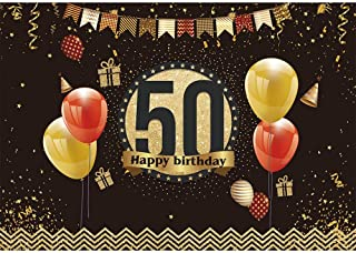 Allenjoy 7x5ft Glitter Gold and Black Happy 50th Birthday Backdrop No Crease Golden and Red Balloons Shiny Fifty Years Old Photography Backgound for Party Table Decors Photobooth Props