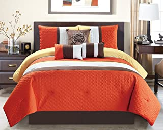 Modern 7 Piece Oversize Orange   Brown   White Embroidered Pin Tuck  Comforter Set Queen Size 559ca32467c3