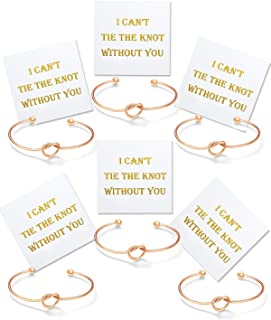 I Can't Tie The Knot Without You Bridesmaid Bracelets with Cards Rose Gold Tone- Set of 1,4,5,6,7,10