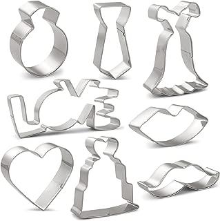 Wedding Cookie Cutters Set - 8 PCS - Wedding Dress, Wedding Cake, Diamond Ring, Heart, Lips, Beard, LOVE Word and Tie - Stainless Steel