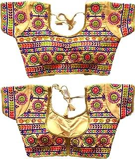 Ethnic Blouse Saree Choli Top & Saree Blouse Readymade Indian Silk & All Sari Color Matching Blouse for Women 127 Cream