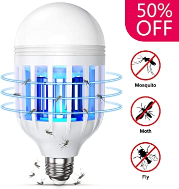 GLOUE Bug Zapper Light Bulb 2 in 1 Fly Killer Lamp E26 or E27 Led Electronic Insect and Mosquito Killer for Outdoor and Indoor