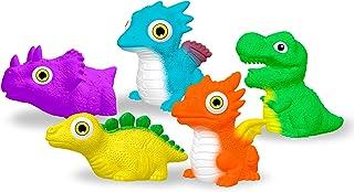 yoliyogo Dinosaur Toy Auto Flashing Dinosaur Model Glowing Figures Bath Toy Playset 5 pcs