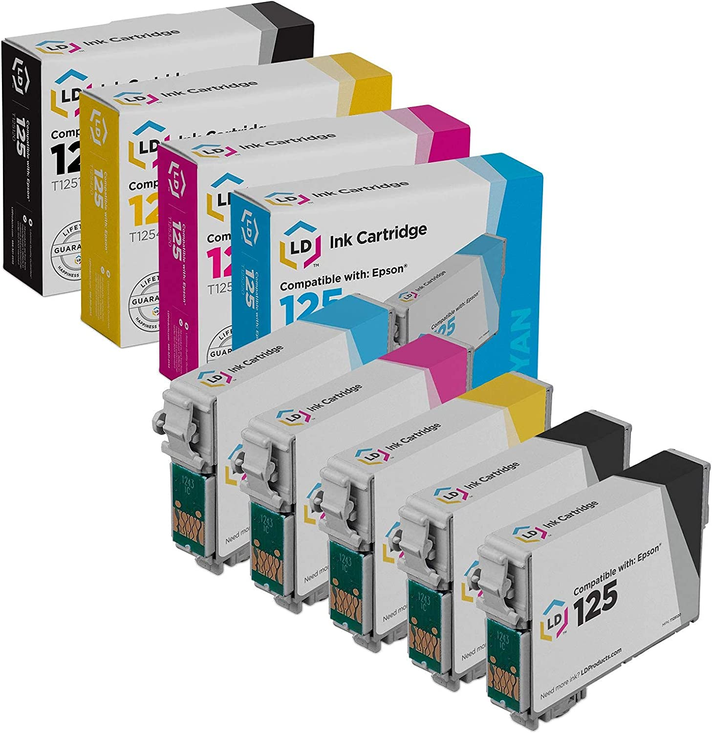 LD Remanufactured Replacement for Epson 125 (2 Black, 1 Cyan, 1 Magenta, 1 Yellow, 5-Pack)