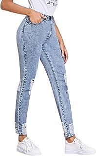 SOLY HUX Mujer Pantalones Vaquero Skinny Push Up Pantalones Elástico Jeans Azul