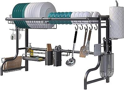 GAOZHEN Rejilla para secar Platos, Rejilla de Cocina de Acero Inoxidable sobre el Fregadero, Almacenamiento y organización de Cocina, Rejillas para Platos, Longitud Ajustable de 60 a 96 cm, para COC