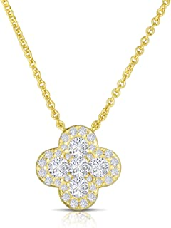 925 Sterling Silver Invisible Set Cubic Zirconia Four Leaf Clover Pendant and Necklace Adjustable to Length of 16