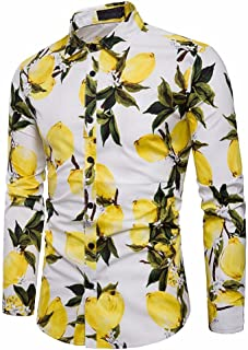 Sunhusing Men's Summer Fresh Lemon Pattern Print Long Sleeve Shirt Slim Fit Button-Down Formal Top