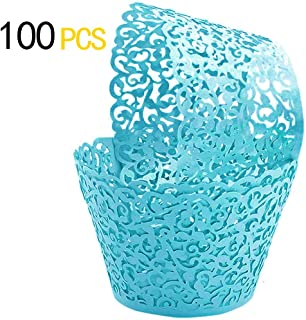 GOLF 100Pcs Cupcake Wrappers Artistic Bake Cake Paper Filigree Little Vine Lace Laser Cut Liner Baking Cup Wraps Muffin CaseTrays for Wedding Party Birthday Decoration (Blue)