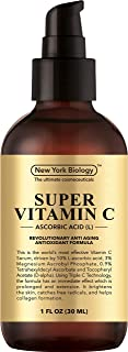 New York Biology Vitamin C Serum for Face and Eye Area- Highest Professional Grade with L Ascorbic Acid- 1 oz