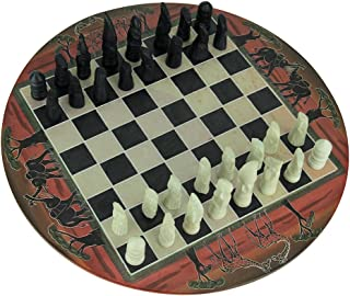 Things2Die4 African Sunset Hand Painted 11.75 inch Round Chess Set Hand Carved Pieces
