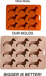 Largest Dachshund Ice Cube Tray - Silicone Weiner Dog Molds, Great Gift For Ice Treats, Baking and Chocolate