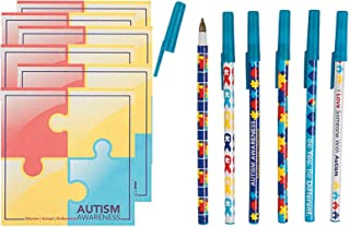 Charmed By Dragons Autism Awareness Pens and Sticky Note Pads 12 Piece Bundle