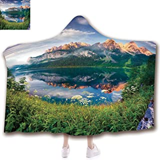 Fashion Blanket Ancient China Decorations Blanket Wearable Hooded Blanket,Unisex Swaddle Blankets for Babies Newborn by,Morning on the Lake Austrian Alps Crystal Mirroring,Adult Style Children Style