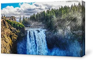 SIGNFORD Canvas Wall Art for Living Room,Bedroom Home Artwork Paintings Waterfall Landscape Ready to Hang - 12x18 inches
